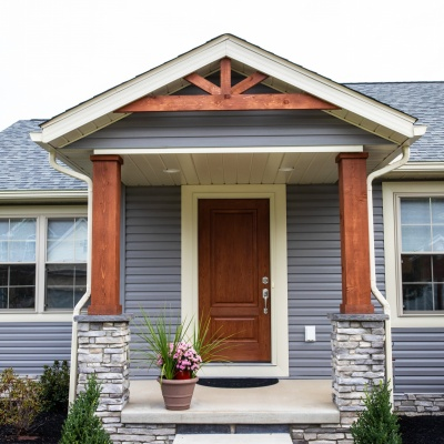 Custom Home Exterior - Craftsman Style Front Door