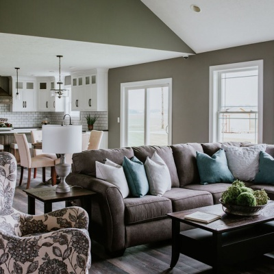 custom model home living room with furniture