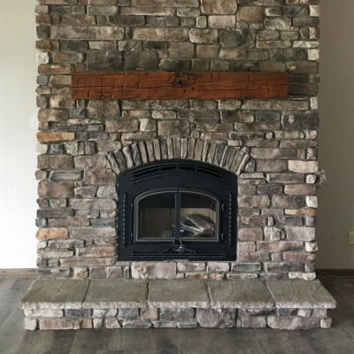 Fireplace and mantel - Bellville Home Construction